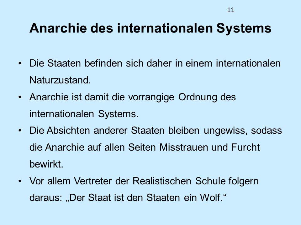 11 Anarchie des internationalen Systems Die Staaten befinden sich daher in einem internationalen Naturzustand. Anarchie ist damit die vorrangige Ordnu