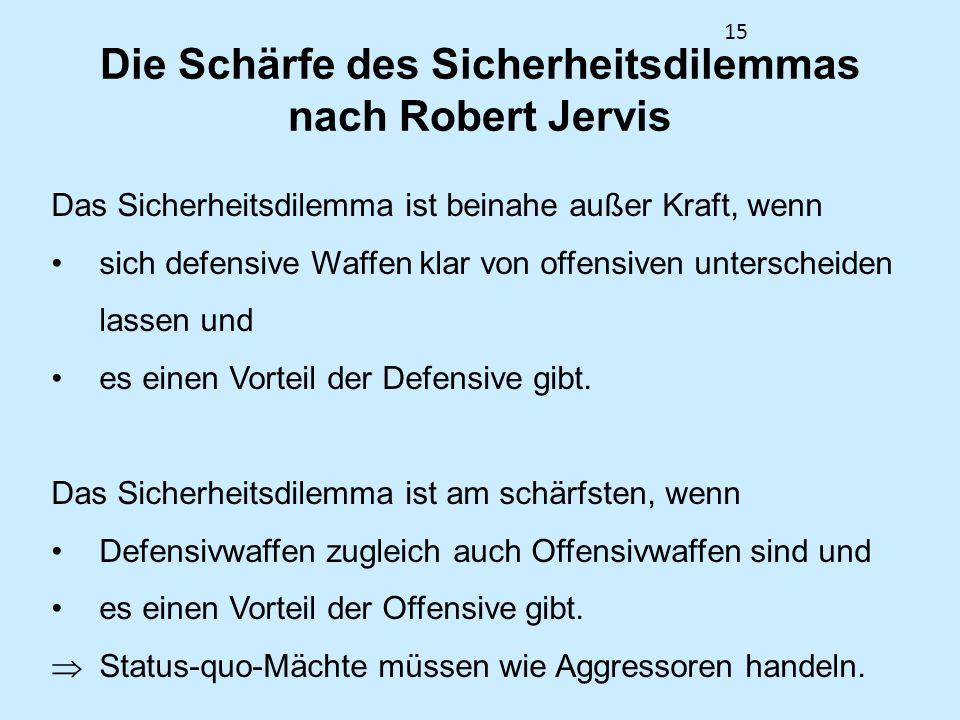 15 Die Schärfe des Sicherheitsdilemmas nach Robert Jervis Das Sicherheitsdilemma ist beinahe außer Kraft, wenn sich defensive Waffen klar von offensiv