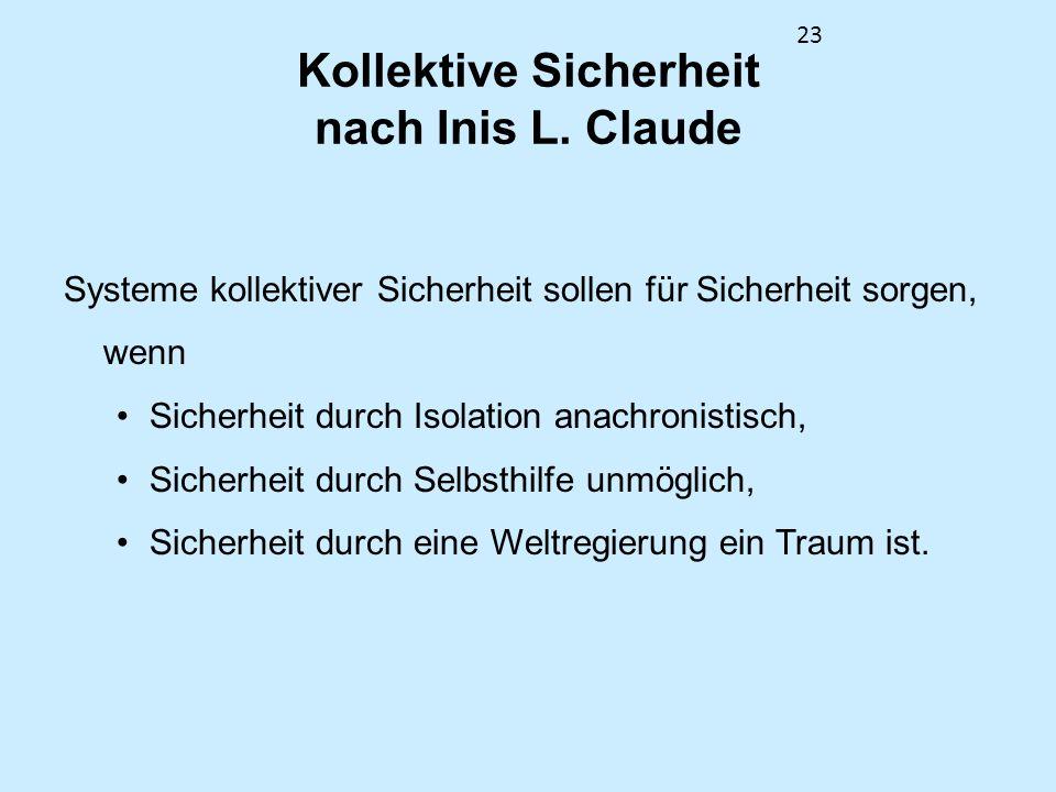 23 Kollektive Sicherheit nach Inis L. Claude Systeme kollektiver Sicherheit sollen für Sicherheit sorgen, wenn Sicherheit durch Isolation anachronisti