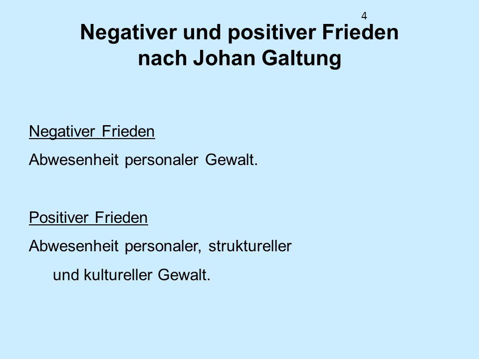 4 Negativer und positiver Frieden nach Johan Galtung Negativer Frieden Abwesenheit personaler Gewalt. Positiver Frieden Abwesenheit personaler, strukt