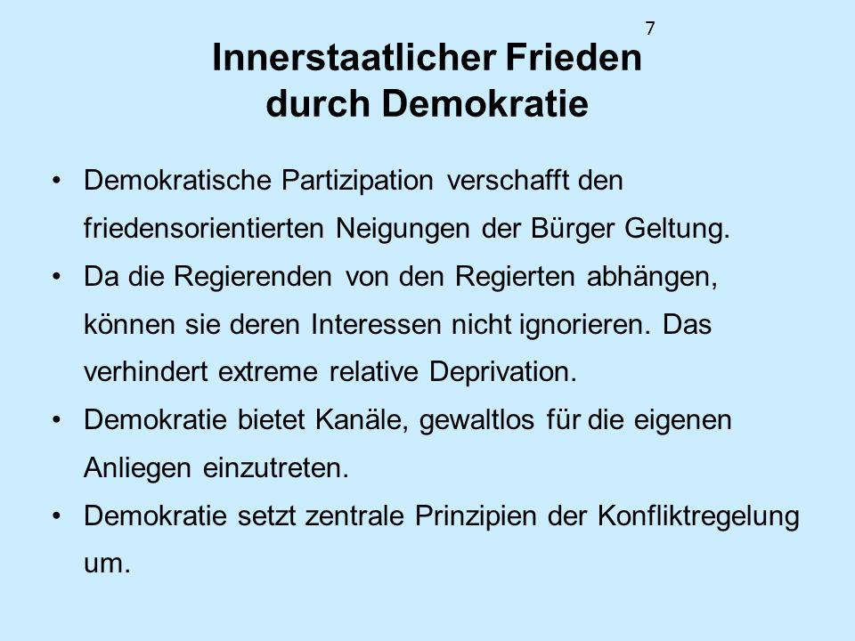 7 Innerstaatlicher Frieden durch Demokratie Demokratische Partizipation verschafft den friedensorientierten Neigungen der Bürger Geltung. Da die Regie