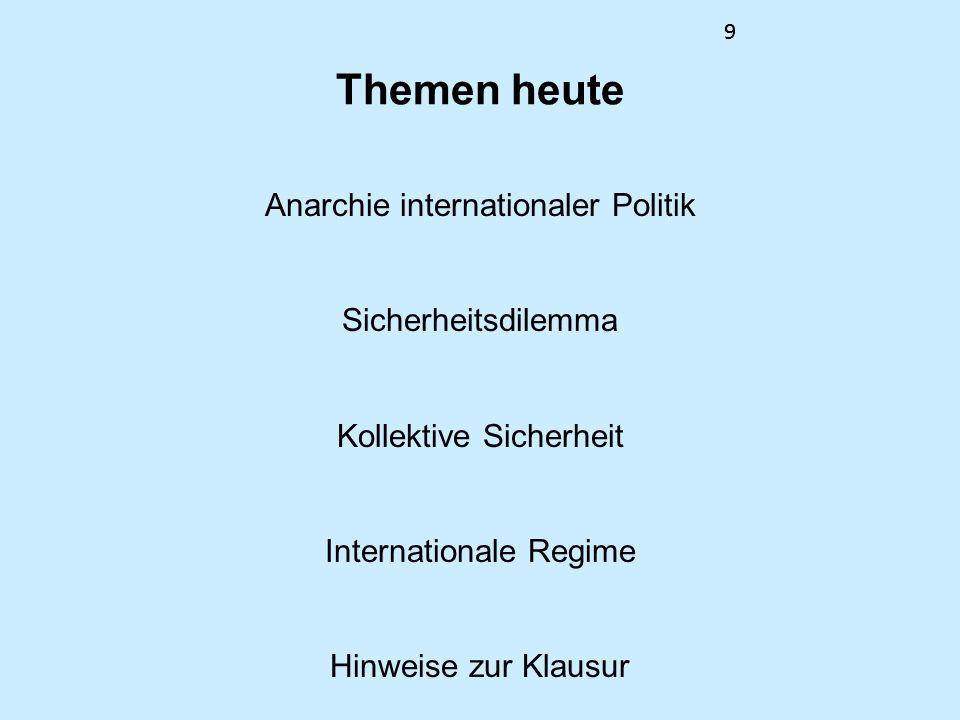 9 Themen heute Anarchie internationaler Politik Sicherheitsdilemma Kollektive Sicherheit Internationale Regime Hinweise zur Klausur 9