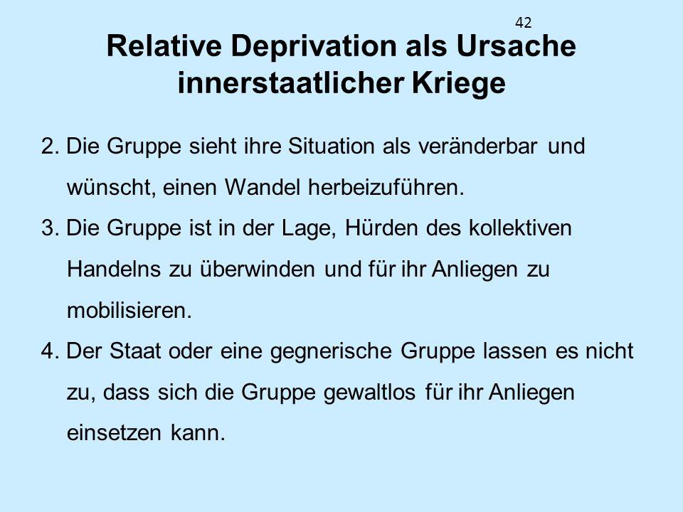 42 Relative Deprivation als Ursache innerstaatlicher Kriege 2. Die Gruppe sieht ihre Situation als veränderbar und wünscht, einen Wandel herbeizuführe