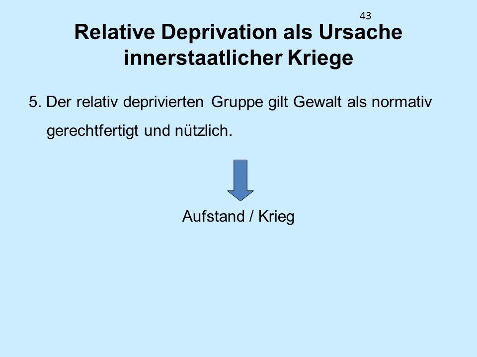 43 Relative Deprivation als Ursache innerstaatlicher Kriege 5. Der relativ deprivierten Gruppe gilt Gewalt als normativ gerechtfertigt und nützlich. A