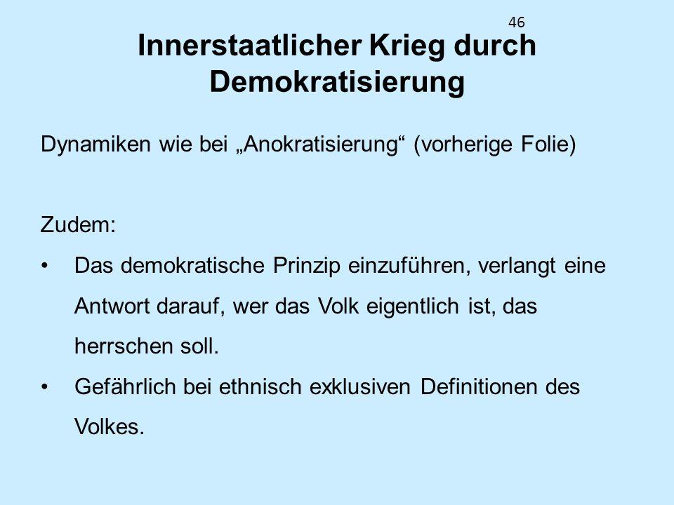 46 Innerstaatlicher Krieg durch Demokratisierung Dynamiken wie bei Anokratisierung (vorherige Folie) Zudem: Das demokratische Prinzip einzuführen, ver