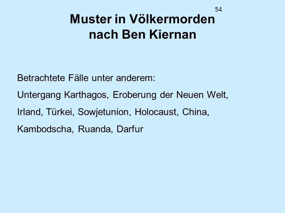 54 Muster in Völkermorden nach Ben Kiernan Betrachtete Fälle unter anderem: Untergang Karthagos, Eroberung der Neuen Welt, Irland, Türkei, Sowjetunion