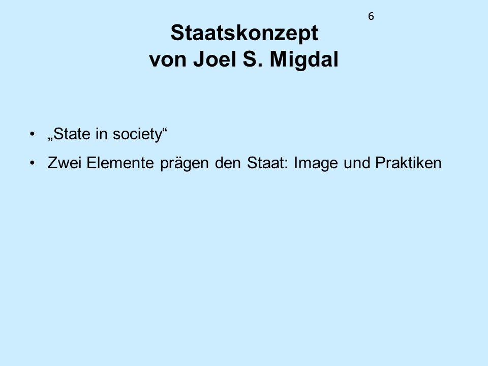 66 Staatskonzept von Joel S. Migdal State in society Zwei Elemente prägen den Staat: Image und Praktiken