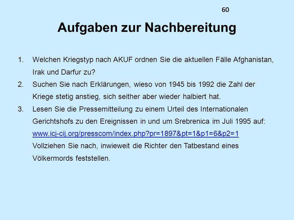 60 Aufgaben zur Nachbereitung 1.Welchen Kriegstyp nach AKUF ordnen Sie die aktuellen Fälle Afghanistan, Irak und Darfur zu? 2.Suchen Sie nach Erklärun