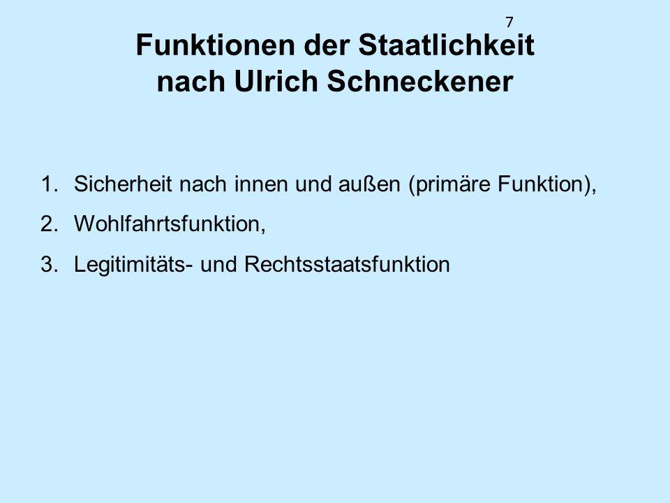 8 Typologie der Staatlichkeit nach Ulrich Schneckener SicherheitWohlstandLegitimität konsolidiert+++ schwach++++++ +--+-- -+--+- verfallend------ ++-++- +-++-+ gescheitert--- 8