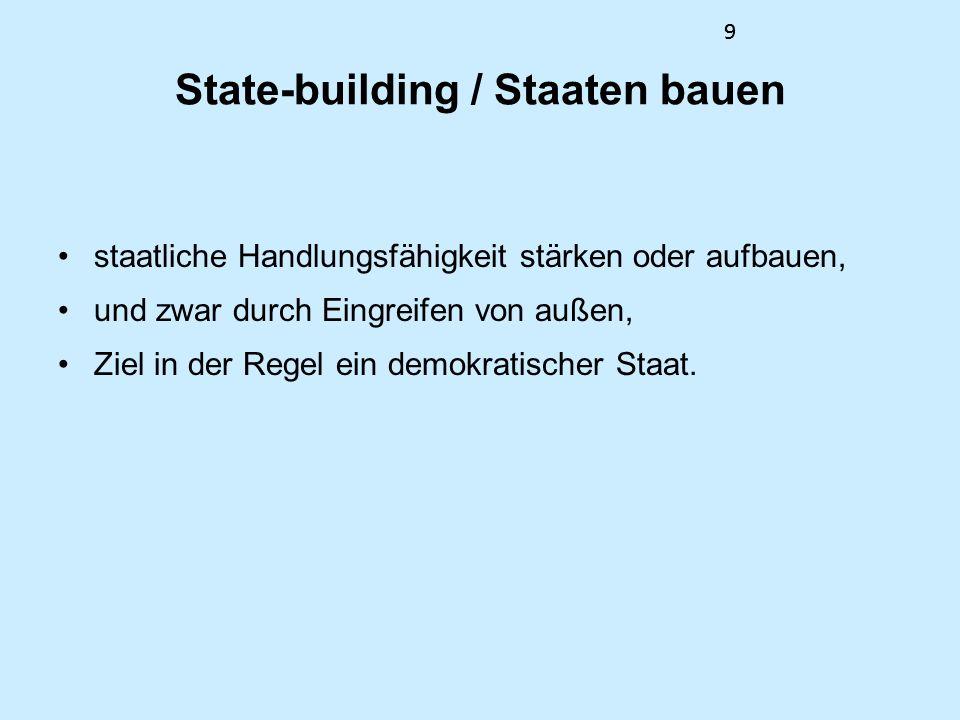 99 State-building / Staaten bauen staatliche Handlungsfähigkeit stärken oder aufbauen, und zwar durch Eingreifen von außen, Ziel in der Regel ein demo