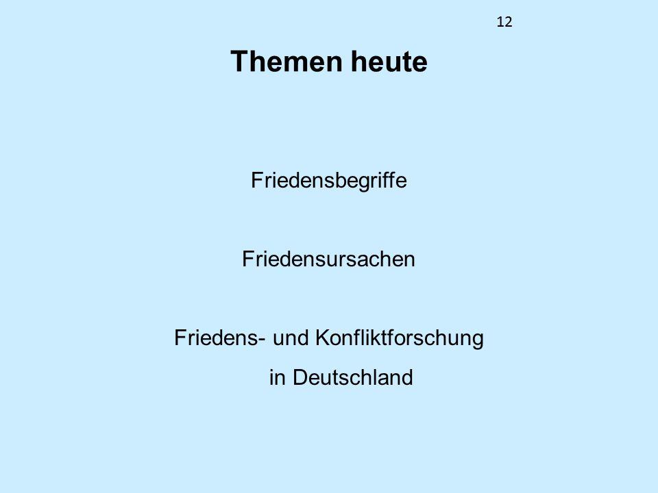 12 Themen heute Friedensbegriffe Friedensursachen Friedens- und Konfliktforschung in Deutschland 12