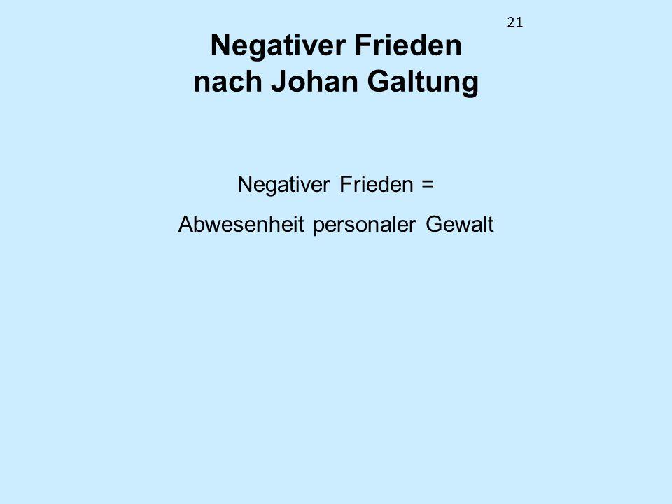 21 Negativer Frieden nach Johan Galtung Negativer Frieden = Abwesenheit personaler Gewalt