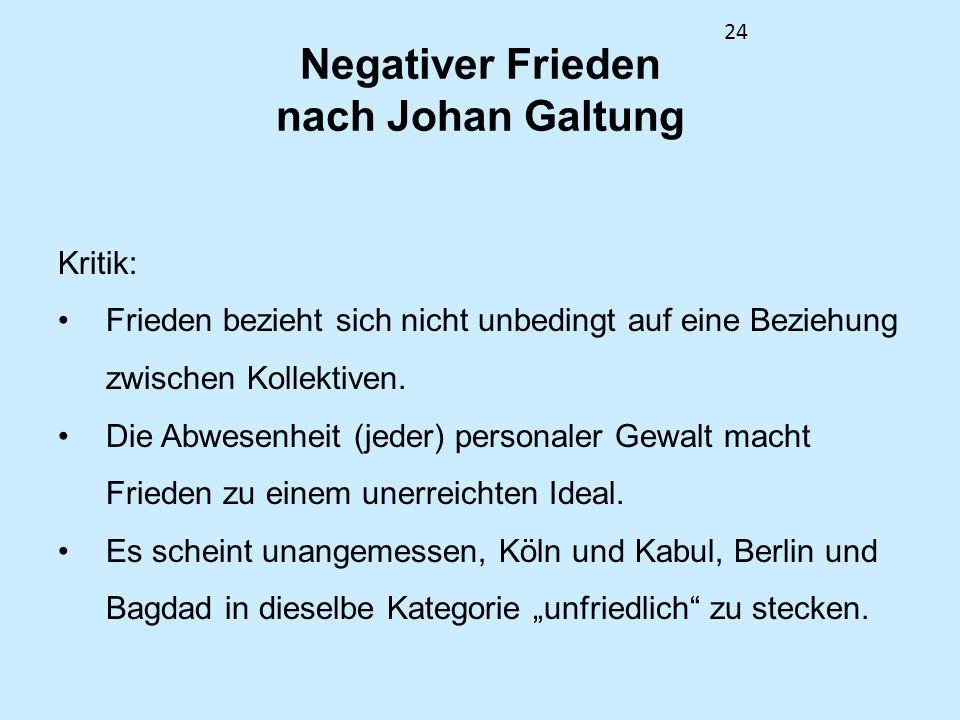 24 Negativer Frieden nach Johan Galtung Kritik: Frieden bezieht sich nicht unbedingt auf eine Beziehung zwischen Kollektiven. Die Abwesenheit (jeder)