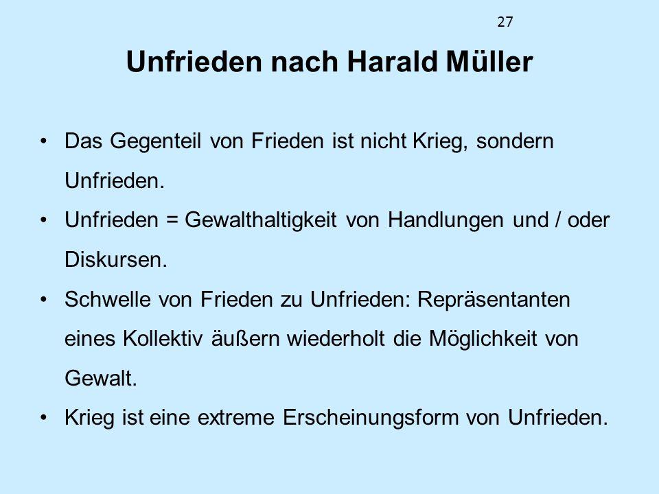 27 Unfrieden nach Harald Müller Das Gegenteil von Frieden ist nicht Krieg, sondern Unfrieden. Unfrieden = Gewalthaltigkeit von Handlungen und / oder D