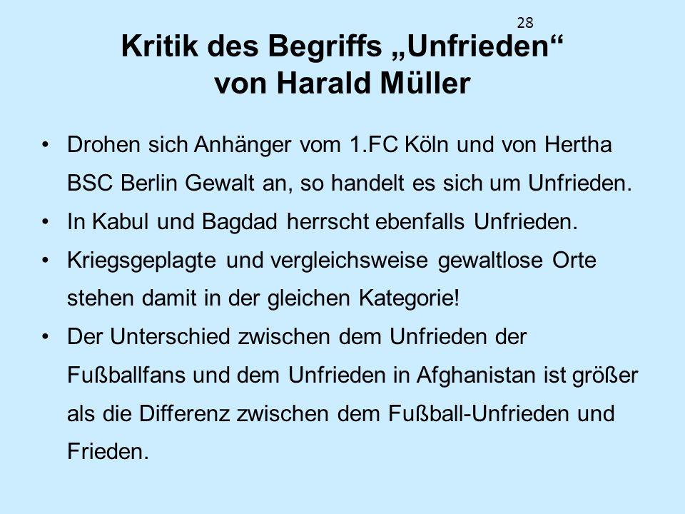 28 Kritik des Begriffs Unfrieden von Harald Müller Drohen sich Anhänger vom 1.FC Köln und von Hertha BSC Berlin Gewalt an, so handelt es sich um Unfri