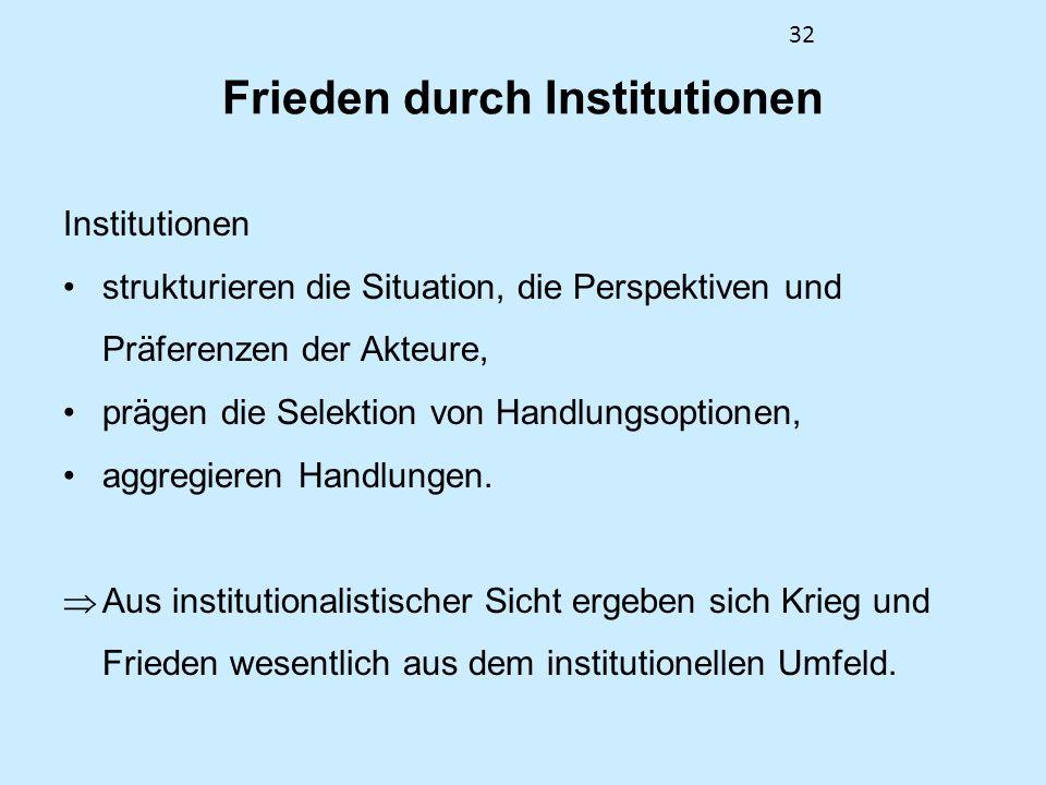 32 Frieden durch Institutionen Institutionen strukturieren die Situation, die Perspektiven und Präferenzen der Akteure, prägen die Selektion von Handl