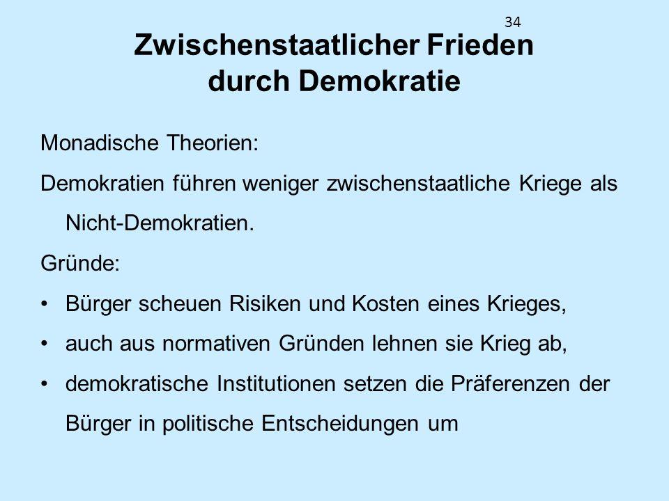 34 Zwischenstaatlicher Frieden durch Demokratie Monadische Theorien: Demokratien führen weniger zwischenstaatliche Kriege als Nicht-Demokratien. Gründ