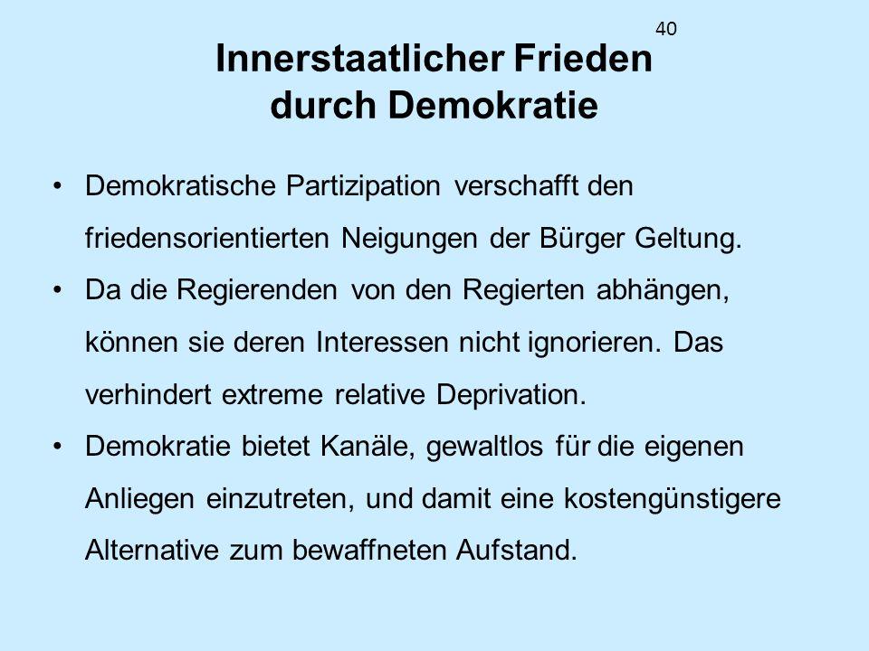 40 Innerstaatlicher Frieden durch Demokratie Demokratische Partizipation verschafft den friedensorientierten Neigungen der Bürger Geltung. Da die Regi