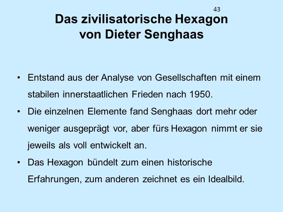 43 Das zivilisatorische Hexagon von Dieter Senghaas Entstand aus der Analyse von Gesellschaften mit einem stabilen innerstaatlichen Frieden nach 1950.