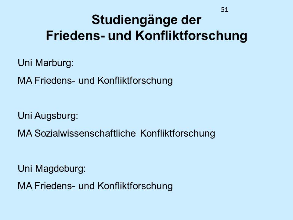 51 Studiengänge der Friedens- und Konfliktforschung Uni Marburg: MA Friedens- und Konfliktforschung Uni Augsburg: MA Sozialwissenschaftliche Konfliktf