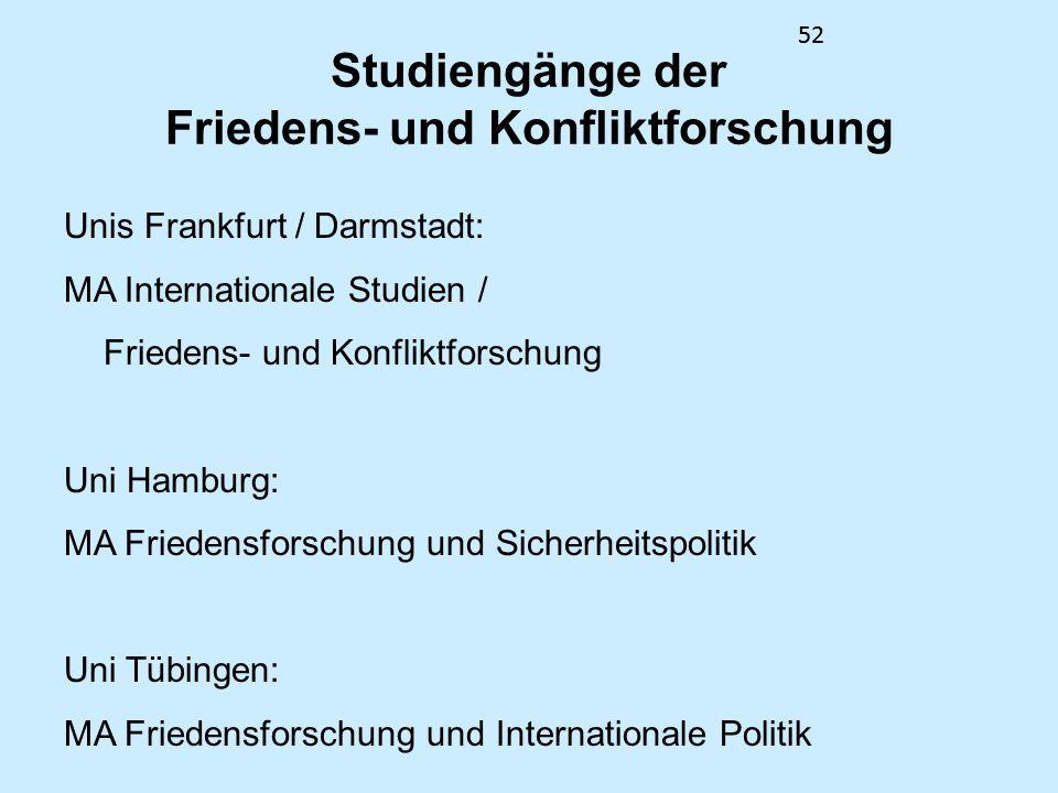 52 Studiengänge der Friedens- und Konfliktforschung Unis Frankfurt / Darmstadt: MA Internationale Studien / Friedens- und Konfliktforschung Uni Hambur