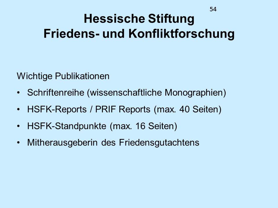 54 Hessische Stiftung Friedens- und Konfliktforschung Wichtige Publikationen Schriftenreihe (wissenschaftliche Monographien) HSFK-Reports / PRIF Repor