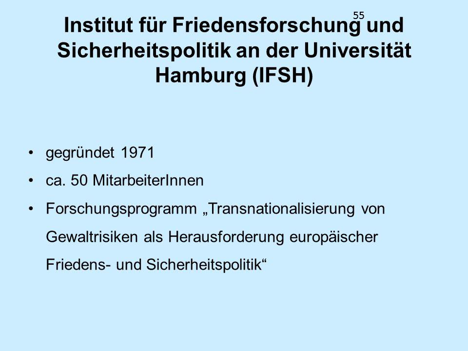 55 Institut für Friedensforschung und Sicherheitspolitik an der Universität Hamburg (IFSH) gegründet 1971 ca. 50 MitarbeiterInnen Forschungsprogramm T