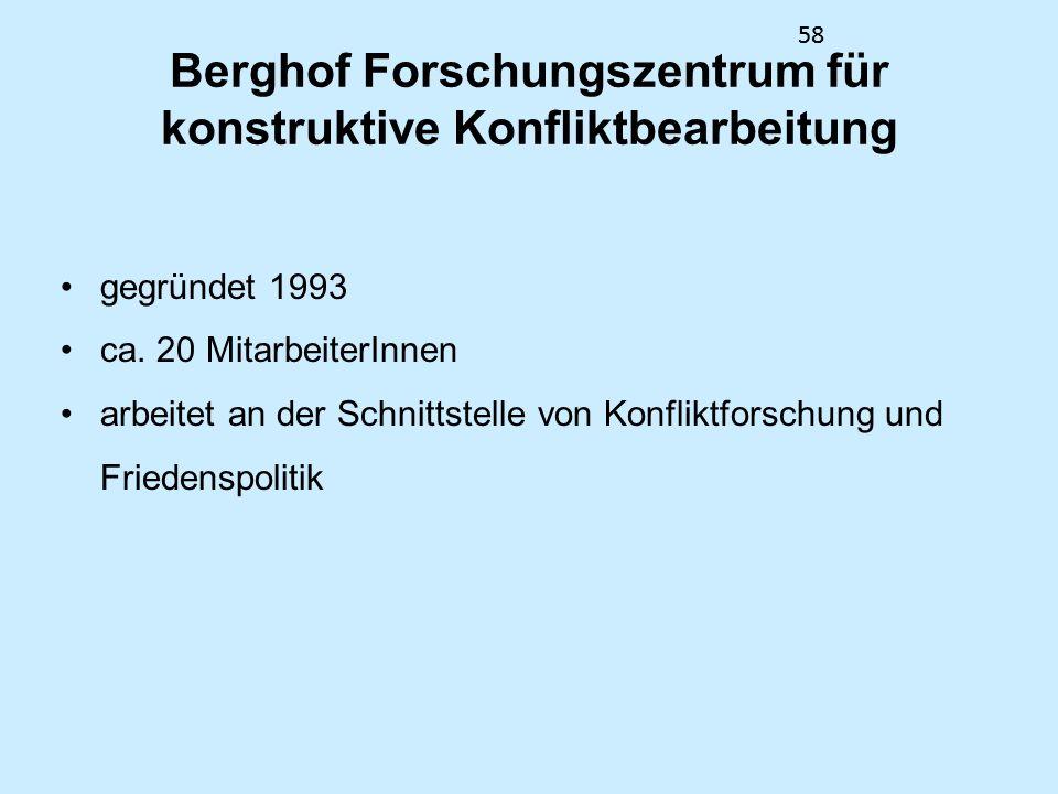58 Berghof Forschungszentrum für konstruktive Konfliktbearbeitung gegründet 1993 ca. 20 MitarbeiterInnen arbeitet an der Schnittstelle von Konfliktfor