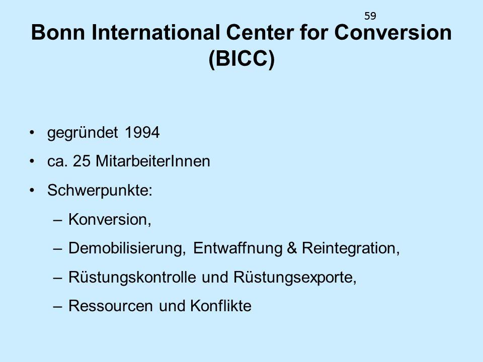 59 Bonn International Center for Conversion (BICC) gegründet 1994 ca. 25 MitarbeiterInnen Schwerpunkte: –Konversion, –Demobilisierung, Entwaffnung & R
