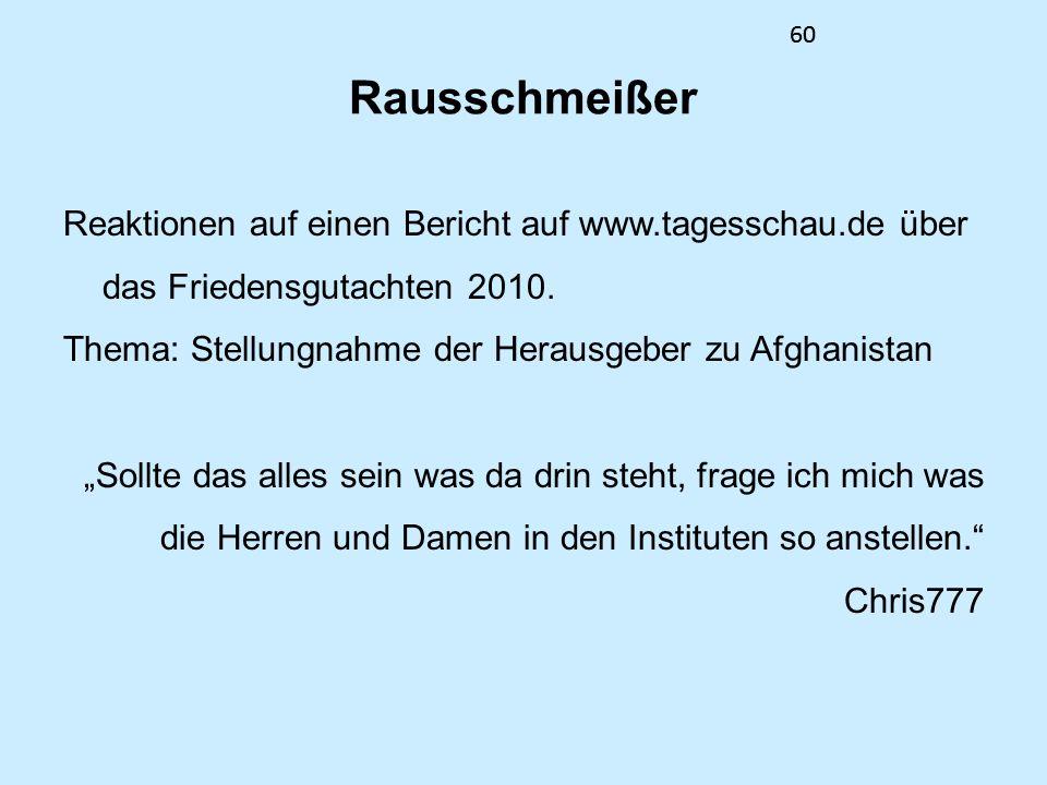 60 Rausschmeißer Reaktionen auf einen Bericht auf www.tagesschau.de über das Friedensgutachten 2010. Thema: Stellungnahme der Herausgeber zu Afghanist