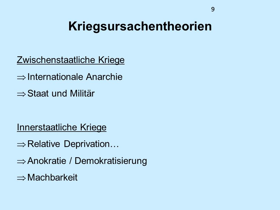99 Kriegsursachentheorien Zwischenstaatliche Kriege Internationale Anarchie Staat und Militär Innerstaatliche Kriege Relative Deprivation… Anokratie /