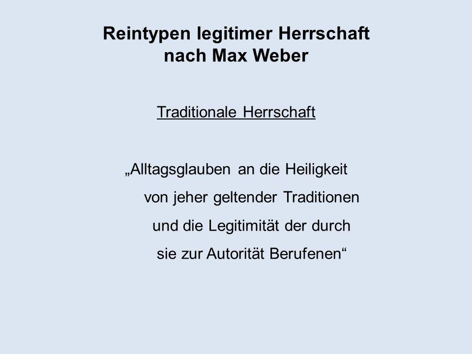 Reintypen legitimer Herrschaft nach Max Weber Traditionale Herrschaft Alltagsglauben an die Heiligkeit von jeher geltender Traditionen und die Legitim