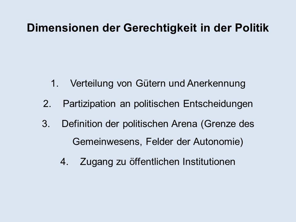 Dimensionen der Gerechtigkeit in der Politik 1.Verteilung von Gütern und Anerkennung 2.Partizipation an politischen Entscheidungen 3.Definition der po