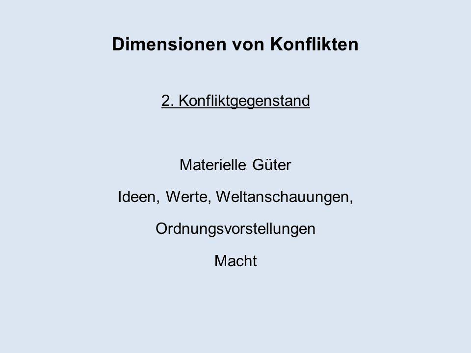 Dimensionen von Konflikten 2. Konfliktgegenstand Materielle Güter Ideen, Werte, Weltanschauungen, Ordnungsvorstellungen Macht