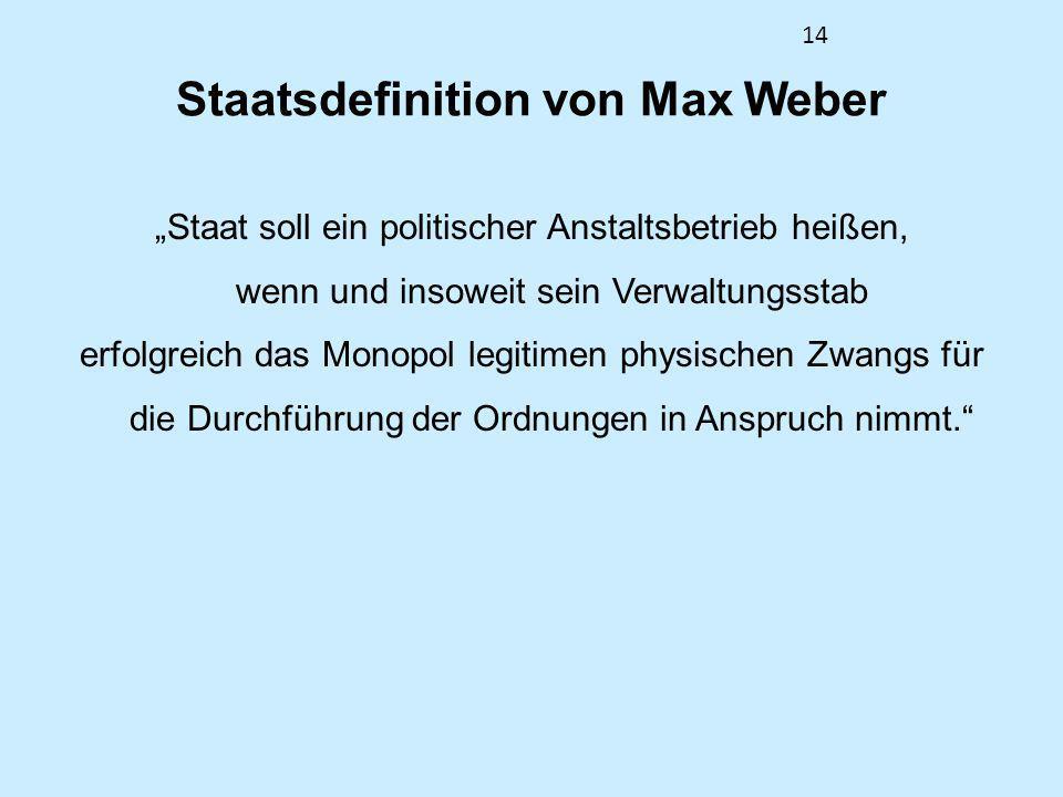 14 Staatsdefinition von Max Weber Staat soll ein politischer Anstaltsbetrieb heißen, wenn und insoweit sein Verwaltungsstab erfolgreich das Monopol le