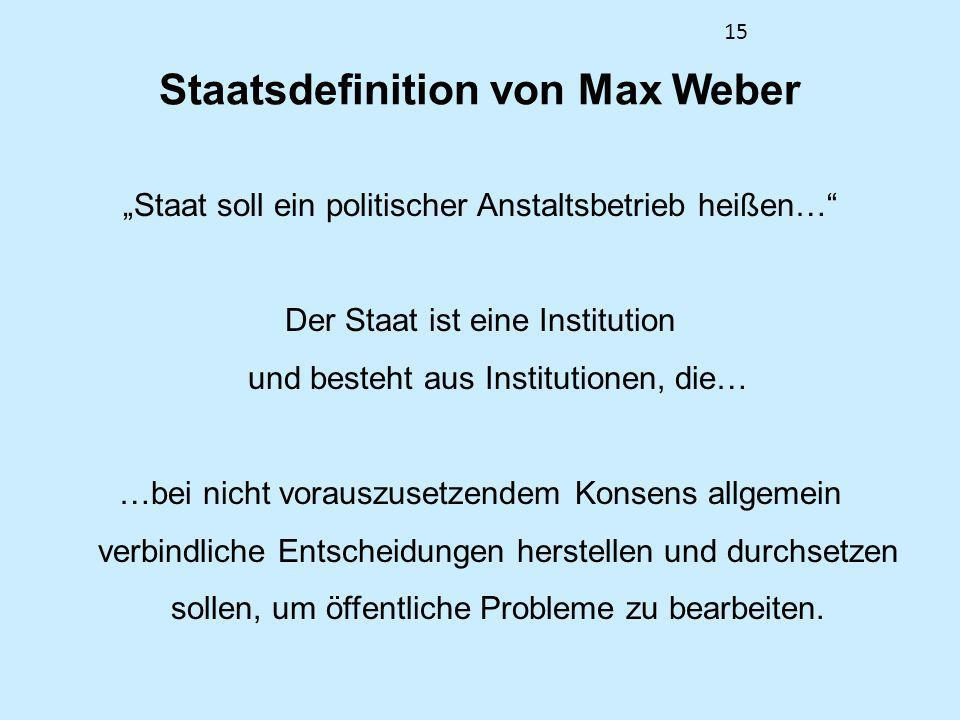 15 Staatsdefinition von Max Weber Staat soll ein politischer Anstaltsbetrieb heißen… Der Staat ist eine Institution und besteht aus Institutionen, die