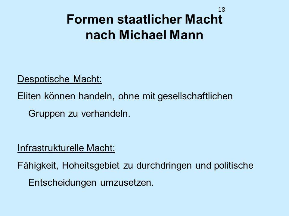 18 Formen staatlicher Macht nach Michael Mann Despotische Macht: Eliten können handeln, ohne mit gesellschaftlichen Gruppen zu verhandeln. Infrastrukt