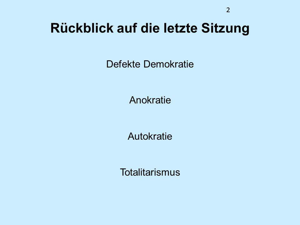 22 Rückblick auf die letzte Sitzung Defekte Demokratie Anokratie Autokratie Totalitarismus 2