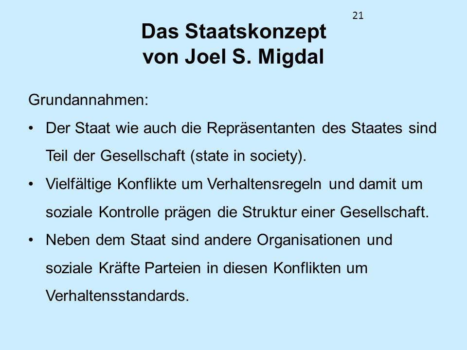 21 Das Staatskonzept von Joel S. Migdal Grundannahmen: Der Staat wie auch die Repräsentanten des Staates sind Teil der Gesellschaft (state in society)