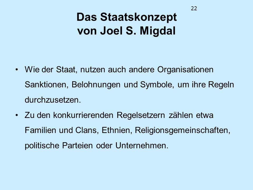 22 Das Staatskonzept von Joel S. Migdal Wie der Staat, nutzen auch andere Organisationen Sanktionen, Belohnungen und Symbole, um ihre Regeln durchzuse