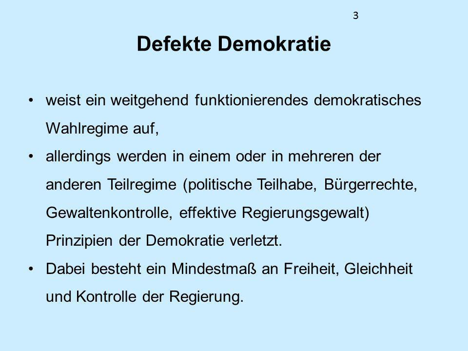 33 Defekte Demokratie weist ein weitgehend funktionierendes demokratisches Wahlregime auf, allerdings werden in einem oder in mehreren der anderen Tei