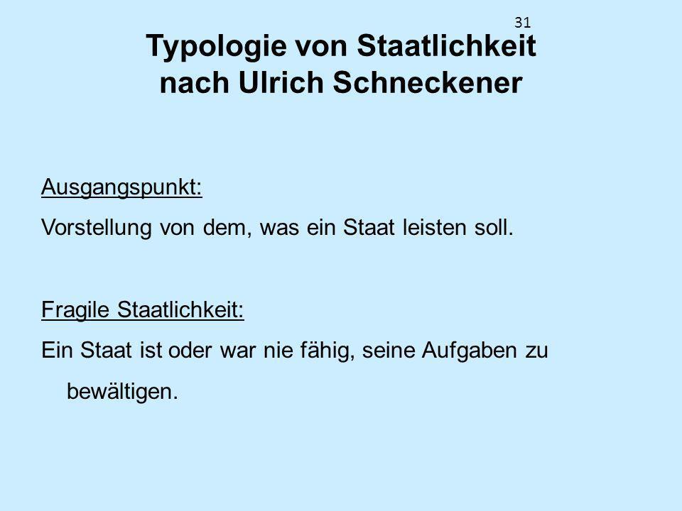 31 Typologie von Staatlichkeit nach Ulrich Schneckener Ausgangspunkt: Vorstellung von dem, was ein Staat leisten soll. Fragile Staatlichkeit: Ein Staa