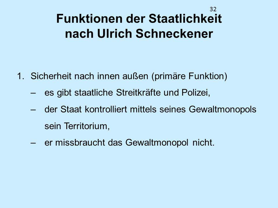 32 Funktionen der Staatlichkeit nach Ulrich Schneckener 1.Sicherheit nach innen außen (primäre Funktion) –es gibt staatliche Streitkräfte und Polizei,