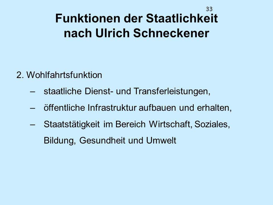 33 Funktionen der Staatlichkeit nach Ulrich Schneckener 2. Wohlfahrtsfunktion –staatliche Dienst- und Transferleistungen, –öffentliche Infrastruktur a