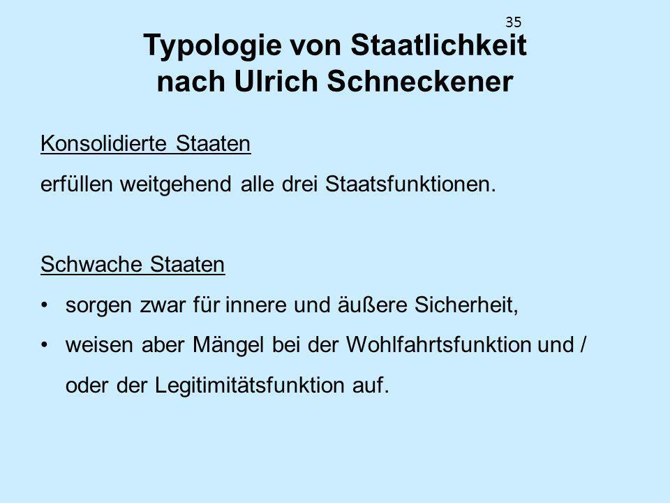35 Typologie von Staatlichkeit nach Ulrich Schneckener Konsolidierte Staaten erfüllen weitgehend alle drei Staatsfunktionen. Schwache Staaten sorgen z