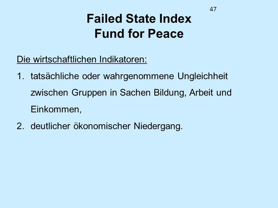 47 Failed State Index Fund for Peace Die wirtschaftlichen Indikatoren: 1.tatsächliche oder wahrgenommene Ungleichheit zwischen Gruppen in Sachen Bildu