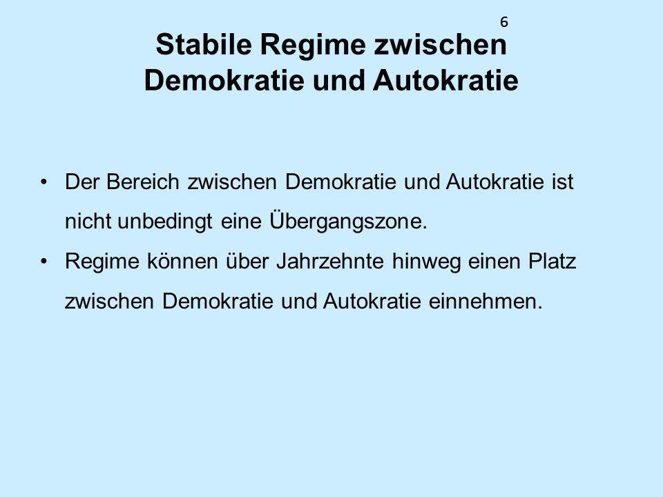 66 Stabile Regime zwischen Demokratie und Autokratie Der Bereich zwischen Demokratie und Autokratie ist nicht unbedingt eine Übergangszone. Regime kön