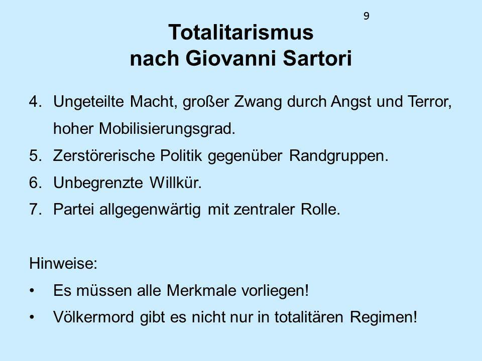 99 Totalitarismus nach Giovanni Sartori 4. Ungeteilte Macht, großer Zwang durch Angst und Terror, hoher Mobilisierungsgrad. 5. Zerstörerische Politik