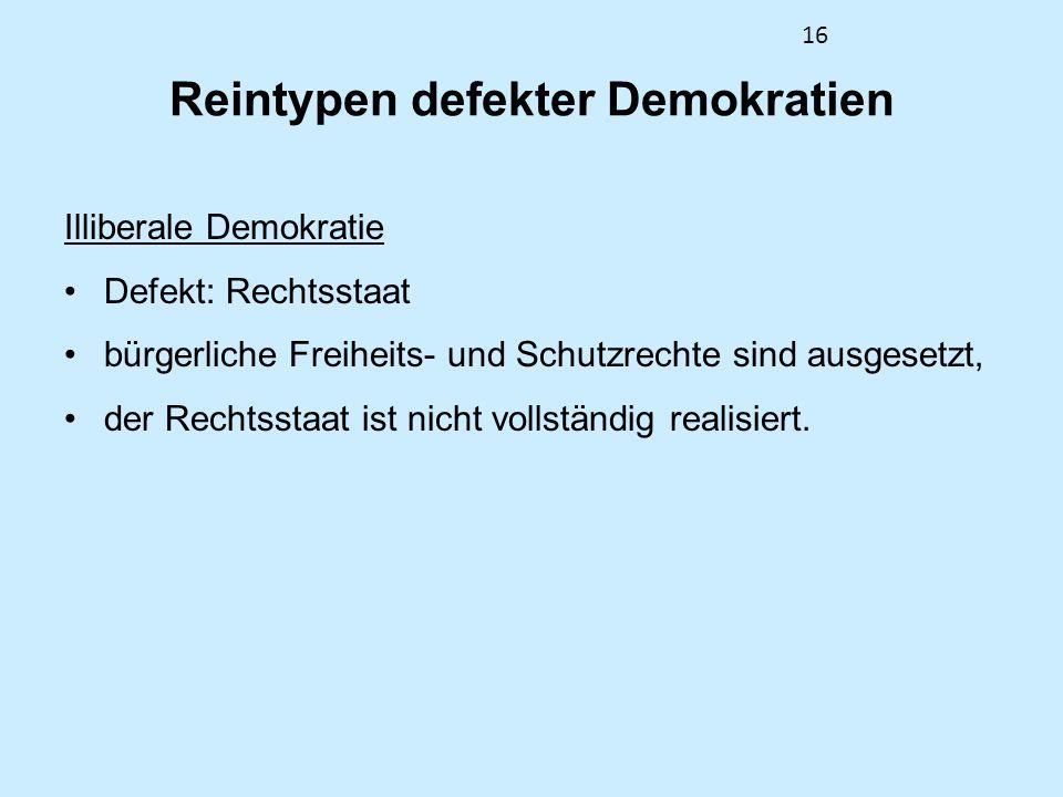 16 Reintypen defekter Demokratien Illiberale Demokratie Defekt: Rechtsstaat bürgerliche Freiheits- und Schutzrechte sind ausgesetzt, der Rechtsstaat ist nicht vollständig realisiert.