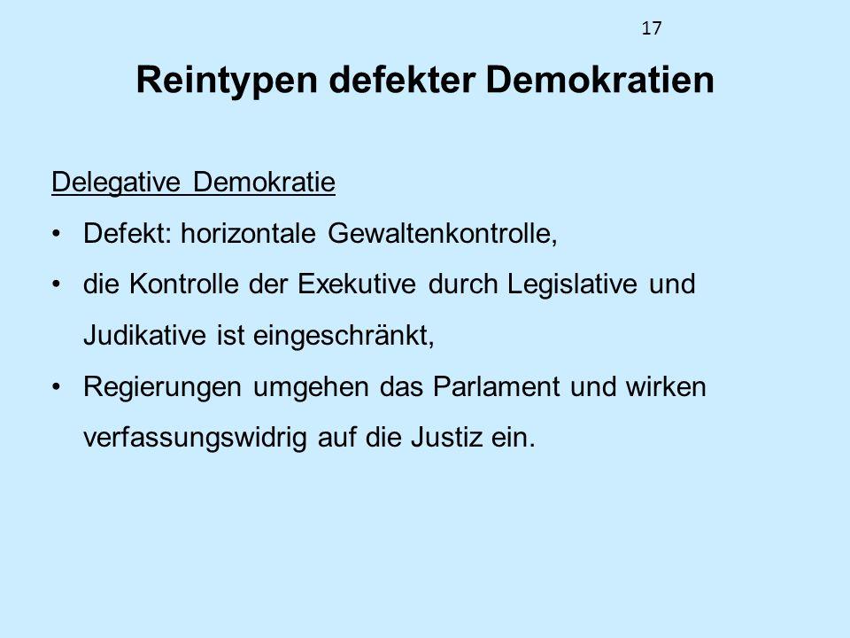17 Reintypen defekter Demokratien Delegative Demokratie Defekt: horizontale Gewaltenkontrolle, die Kontrolle der Exekutive durch Legislative und Judikative ist eingeschränkt, Regierungen umgehen das Parlament und wirken verfassungswidrig auf die Justiz ein.